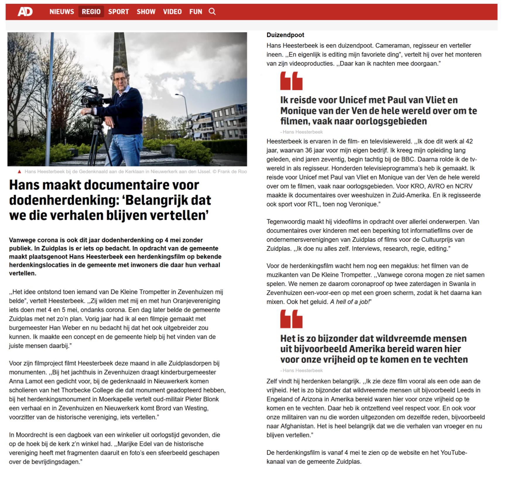 AD artikel Hans Heesterbeek 4 mei DKT